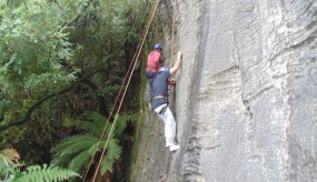 Young Higgins team members abseiling.